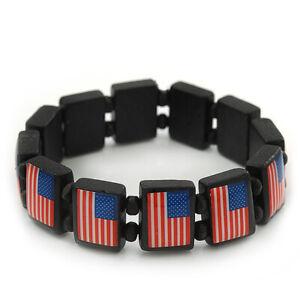 US American Flag Black Stretch Wooden Bracelet - up to 20cm length