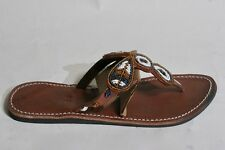 Women's African Hand Made Beaded Leather Sandals Flip Flops size 40 US 9, #182