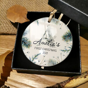 Personalised Baby First Christmas Tree Bauble 1st Xmas Decoration Plaque Gifts
