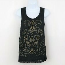 ANN TAYLOR sz Small Black Gold Embroidered Stretch Lace Sleeveless Top Blouse