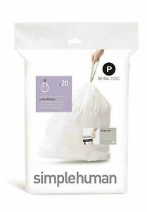 Simplehuman Code P Bin liners, 1 Pack of 20 fast free uk delivery
