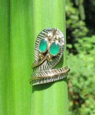 Anello cobra serpente argento 925 montatura due colori OCCHI SMERALDO VERDE
