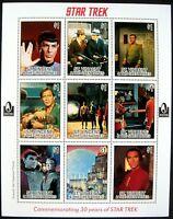 Star Trek Stamps Sheet 1996 MNH St. Vincent Commemorating 30 years Kirk Spock