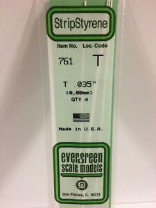 Evergreen EV0761 Profilé Blanc Opaque À T 350mm 0,88mm (4pz) Modélisme