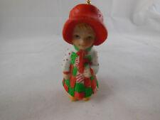 """Vintage 1980 Holly Hobbie Christmas Ornament Porcelain 2.5"""" Rare"""