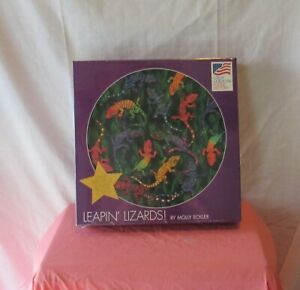 GREAT AMERICAN PUZZLE FACTORY LEAPIN LIZARDS ROUND JIGSAW PUZZLE 500 PLUS PCS