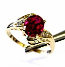 10k yellow gold .04ct diamond created ruby red gemstone ring 3.7g estate vintage
