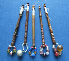 5 ANTIQUE WOODEN LACE BOBBINS with HAND MADE GLASS BEADS c 1840-50