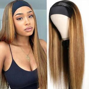 Unice Ombre Blonde Headband Wig Straight Human Hair 150% Density T1B412, 22 inch