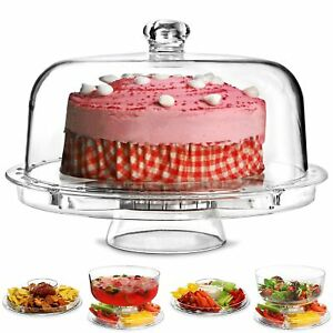 6 in 1 Cake Stand with Dome Lid Dip Platter Salad Bowl Cupcake Serving Dish Tray