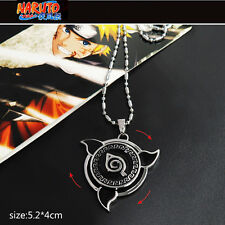 Anime NARUTO Konoha Logo Rotatable Alloy Pendant Necklace Cosplay Jewelry Gift