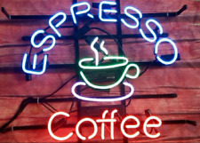"""17""""x14""""Espresso Coffee Neon Sign Light Cafe Room Handcraft Real Glass Tube Art"""