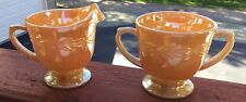 VINTAGE FIRE KING PEACH LUSTER CREAMER & SUGAR BOWL LAUREL LEAF