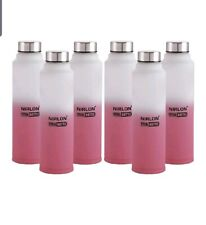 Nirlon Stainless Steel Freezer Water Bottle, Set of 6, Pink and White, 1000Ml