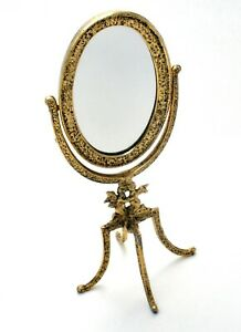 Vintage Swivel Oval Vanity Mirror with Angels Dresser Stand Ormulu Gold Plated