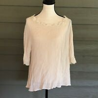 UMGEE White Lace trim Sheer tunic top Blouse Shirt size Large L Women's High Low