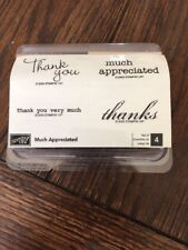 """Stampin' Up """"MUCH APPRECIATED"""" Set of 4 Thank You Sentiments Unmounted"""
