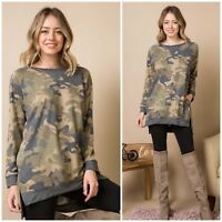 Camo Print French Terry Long Sleeve Pullover Pocket Casual Tunic Top S M L
