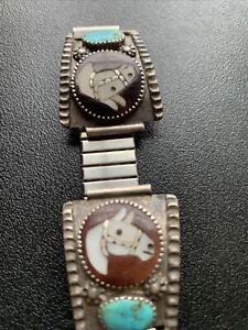 Zuni Horse Watch Tips by I. Simplicio, Sterling Silver with Shell and Turquoise