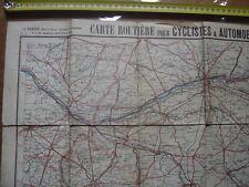 Années 1900 Carte routière cycliste automobile TARIDE 12 CENTRE FRANCE OUEST