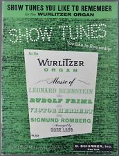 1960 Show Tunes You Like To Remember for Wurlitzer Organ Sheet Music Song Book