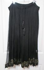 LADIES BLACK P.U. COLLECTION SKIRT PLEATED SEE THRU 38 INCH TIE WAIST