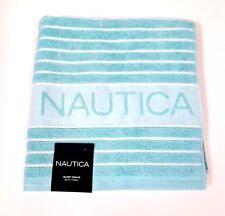 "NEW NAUTICA LIGHT TEAL BLUE+WHITE ROPE STRIPED 100% COTTON BATH TOWEL  27""X54"""