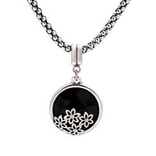 White Gold Charm with Cubic Zirconia Round Black Pendant Necklace for Women,