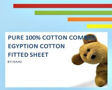 Love2sleep 200 TC Luxury Egyptian Cotton Cot Bed Fitted Sheet 70 X 140 Coffee/ L