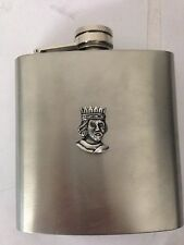 Richard I R105 English Pewter Emblem on a 6oz Stainless Steel Hip Flask