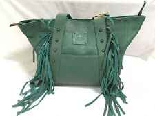 STS The Tote Urban Jade(Turquoise) Leather Purse w/Fringe, Style STS33729