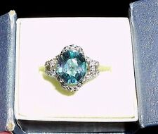 Sapphire Ring 3-4Ctw.(approx) Naturally-mined w/CZ accents, Size 5.25