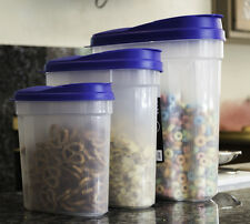 3 Pcs Plastic Cereal Dispenser Set - Dry Food Snack Nut Storage Containers Blue