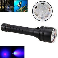 30W 390nm Diving 5 x UV LED Dive Underwater 100m Scuba Flashlight 2x18650 Torch