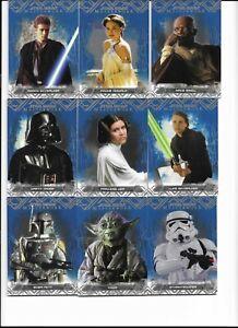 2017 Topps Star Wars Masterwork Blue Base Set Parallel Complete 75 Card Set