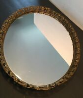 Large Antique / Vintage Oval Brass / Ormolu Floral Vanity Tray Mirror Gold Gilt