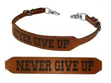 """Showman """"NEVER GIVE UP"""" Branded Western Leather Wither Strap!!! NEW HORSE TACK!!"""