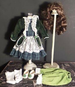 """Antique REPRODUCTION Style 15"""" DRESS Ensemble for Antique BISQUE & ARTIST DOLLS"""