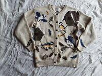 Vintage Birds Nature Cardigan Sweater Tan Northern Treasures Women's Small