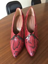 Sigerson Morrison Red Python Snakeskin Double Zip Pumps, 9.5-10  Vintage, Italy