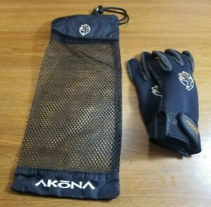 Akona Gloves with Bag Size Small / S / SM Neoprene & Leather Scuba Dive Snorkle