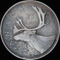 1939 VF Canada Silver 25 Cents - KM# 35 - JG