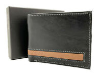Black Handcrafted Cowhide Leather Men's Bifold Premium Wallet Gift Box