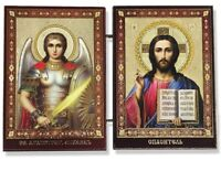 Christ the Teacher and Saint St Michael Icon Diptych Wood 3 1/2 Inch