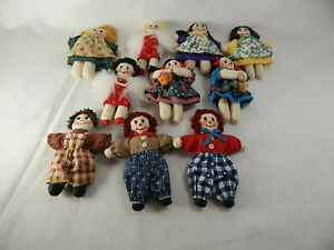 "World of Miniature Bears Rag Doll 10 pcs Set 3"" Hand Made #5900-SET-B CLOSING"