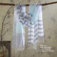 Linen Cotton Scarf Shawl Plaid Lightweight  Summer Scarves For Men & Women