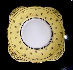 Beautiful Royal Grafton Yellow With Gold Stars Cake Plate