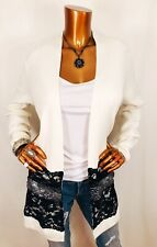 Chico's 2 or L Cardigan Sweater NWT Open Front Lace White Black Long Sl Stretch
