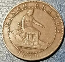 1870, Spagna Governo Provvisorio(1868-1871), 5 Centimos o Gramos, Bronzo, BB