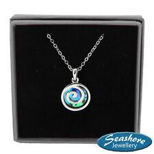 Spiral Necklace Abalone Shell Koru Pendant Womens Silver Fashion Jewellery